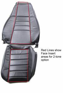 Red Lines show Face Inserts area for 2nd Color/Material choice