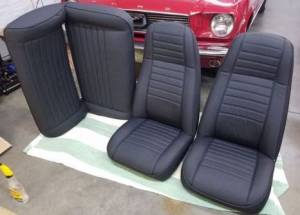 Black Denim Vinyl Upholstery kits installed front and rear seats