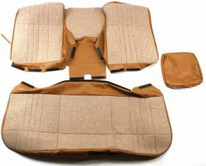 OUTLET - Seatz Manufacturing - IN STOCK HOT DEAL! FORD 1986-1991 PICKUP BENCH SEAT UPHOLSTERY KIT: TWEED CHANNEL STITCH FACE, VINYL SIDES, OPEN BACK, INTEGRATED HEADRESTS, FOLDING CENTER ARMREST